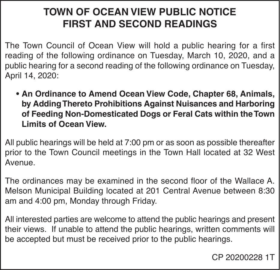 Town of Ocean View - Mar. 10, '20 Meeting Notice