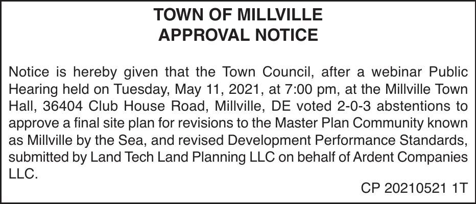 Town of Millville - May 11, '21 Meeting Results