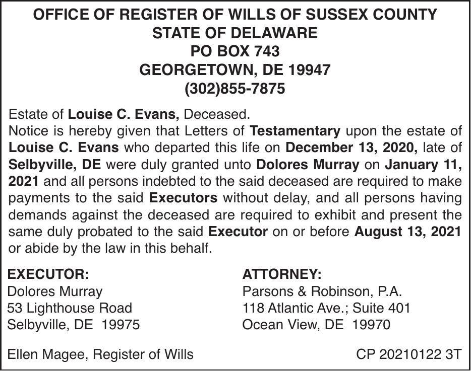 Register of Wills - Evans