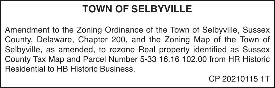 Town of Selbyville - Zoning Amendment