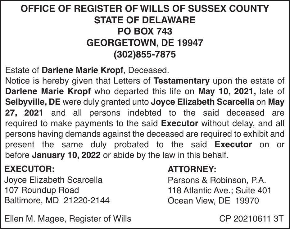 Register of Wills - Kropf