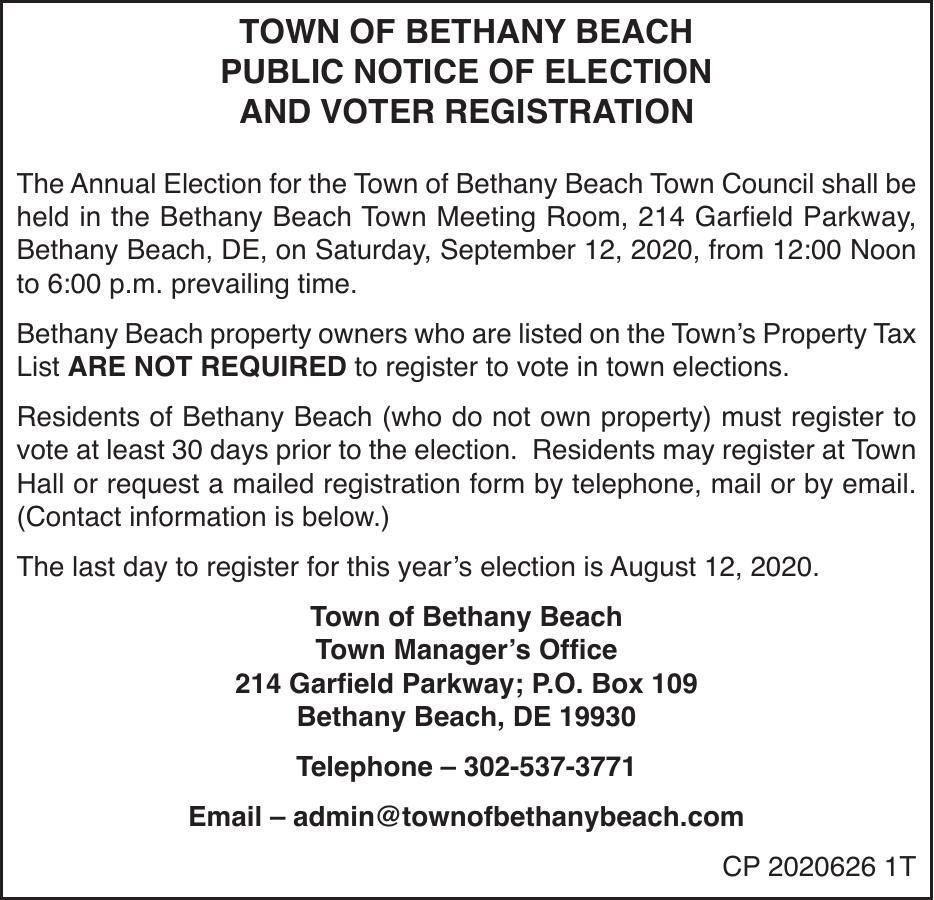 Town of Bethany Beach - '20 Election and Voter Registration