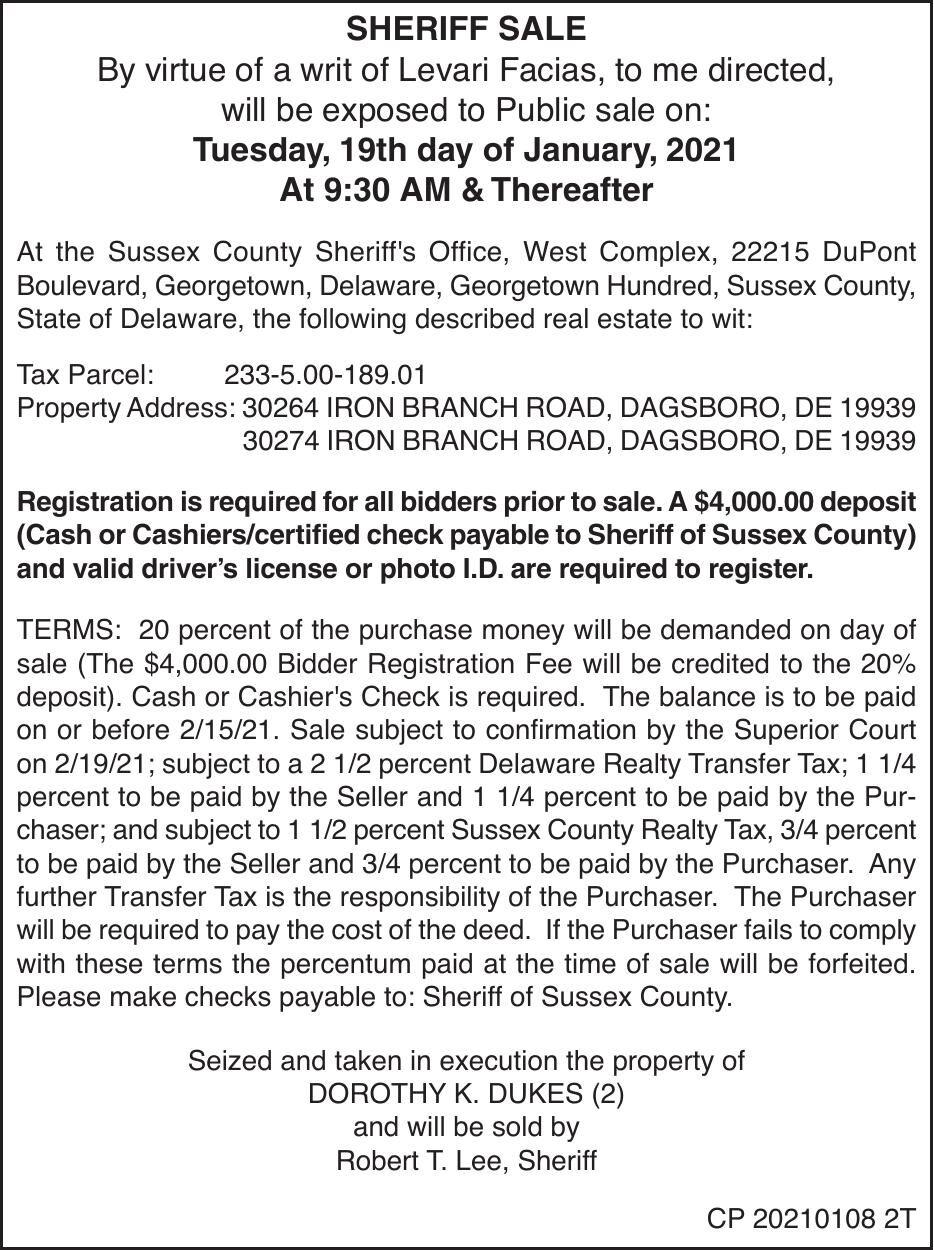Sheriff Sale - Dukes