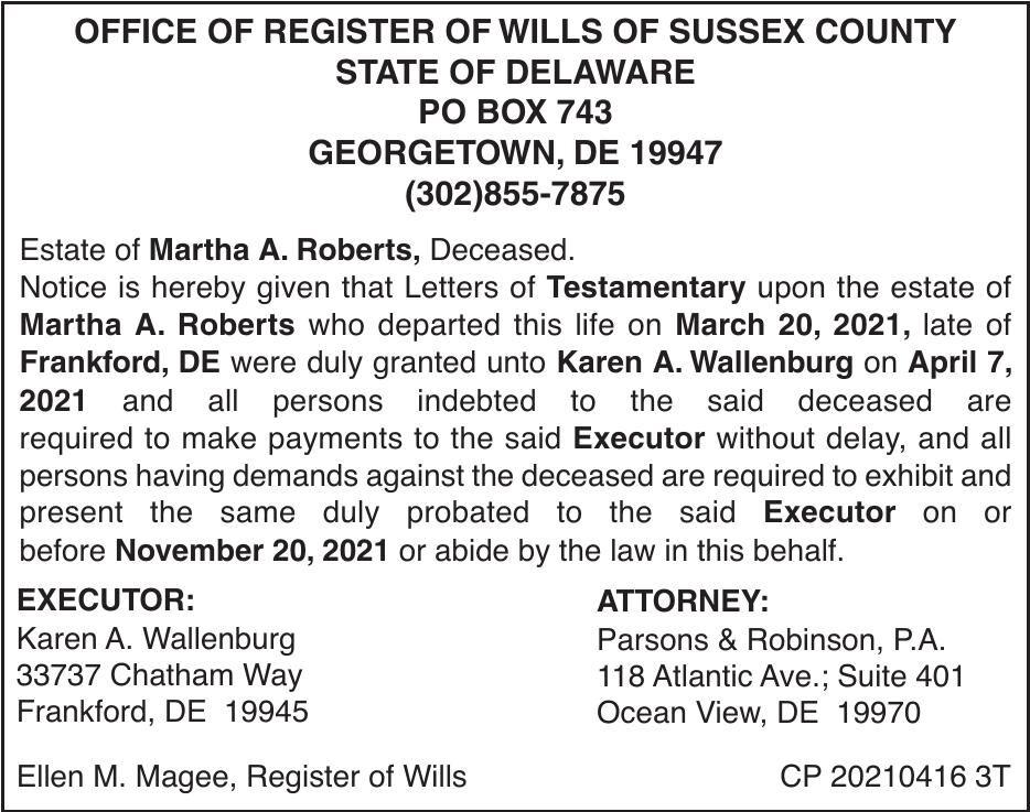 Register of Wills - Roberts