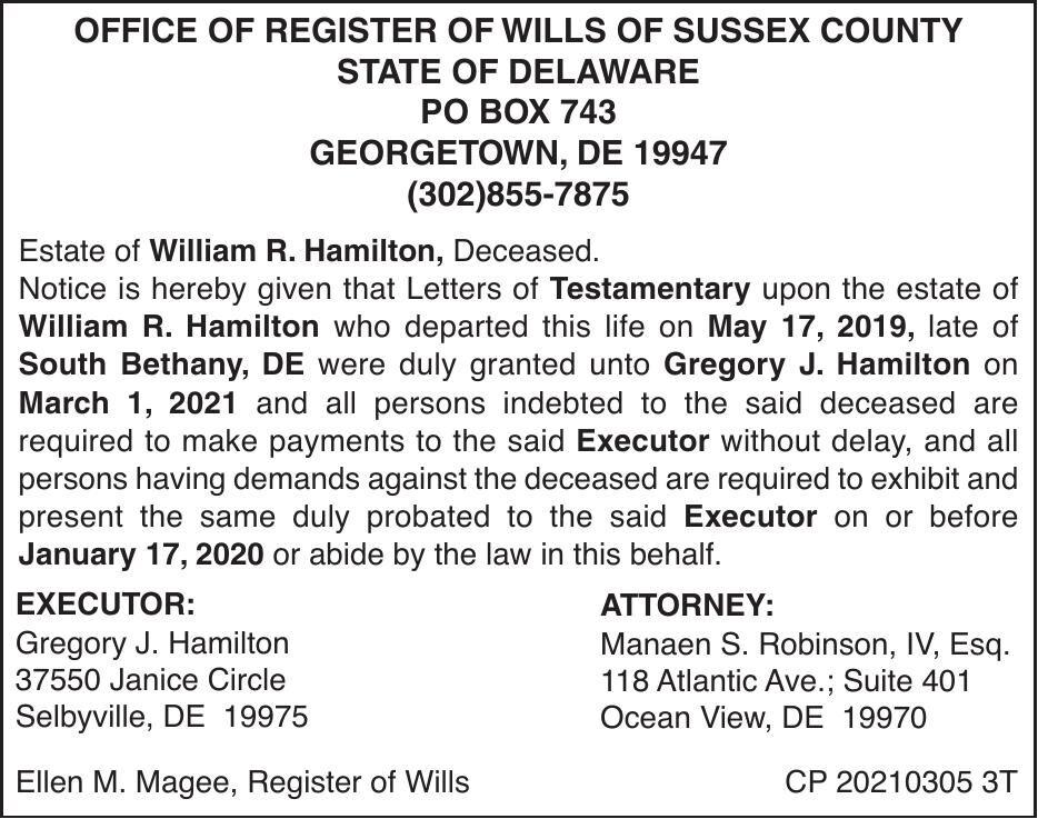 Register of Wills - Hamilton