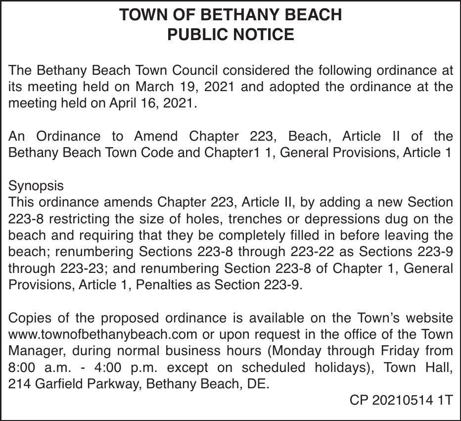 Town of Bethany Beach - Mar. 19, '21 Meeting Results