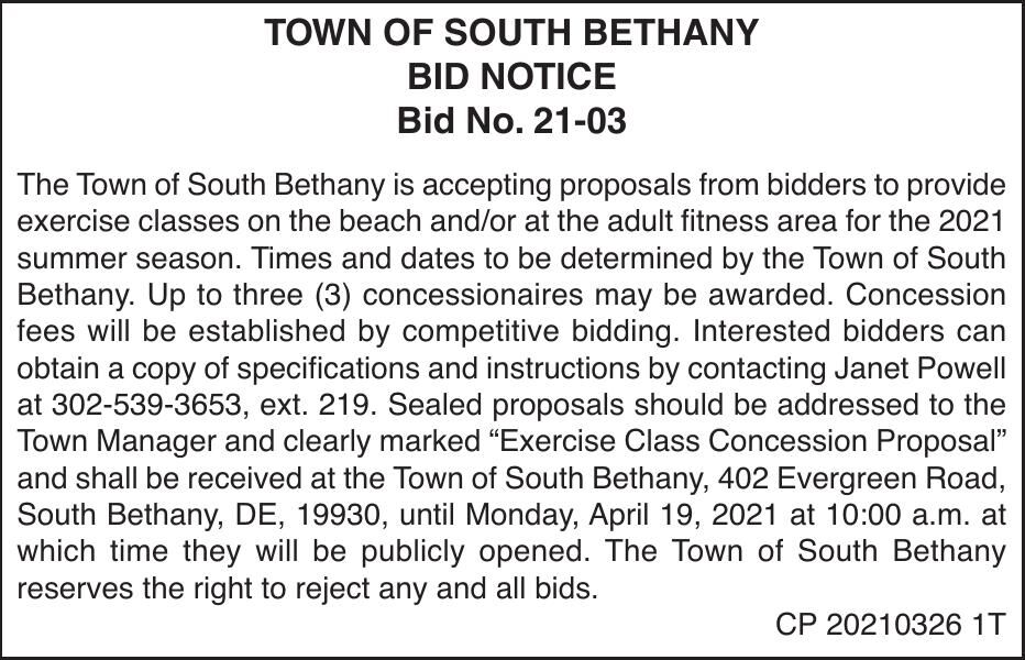 Town of South Bethany - '21 Exercise Bidding