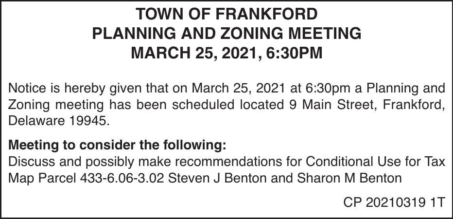 Town of Frankford - Mar 25, '21 P&Z Meeting Notice