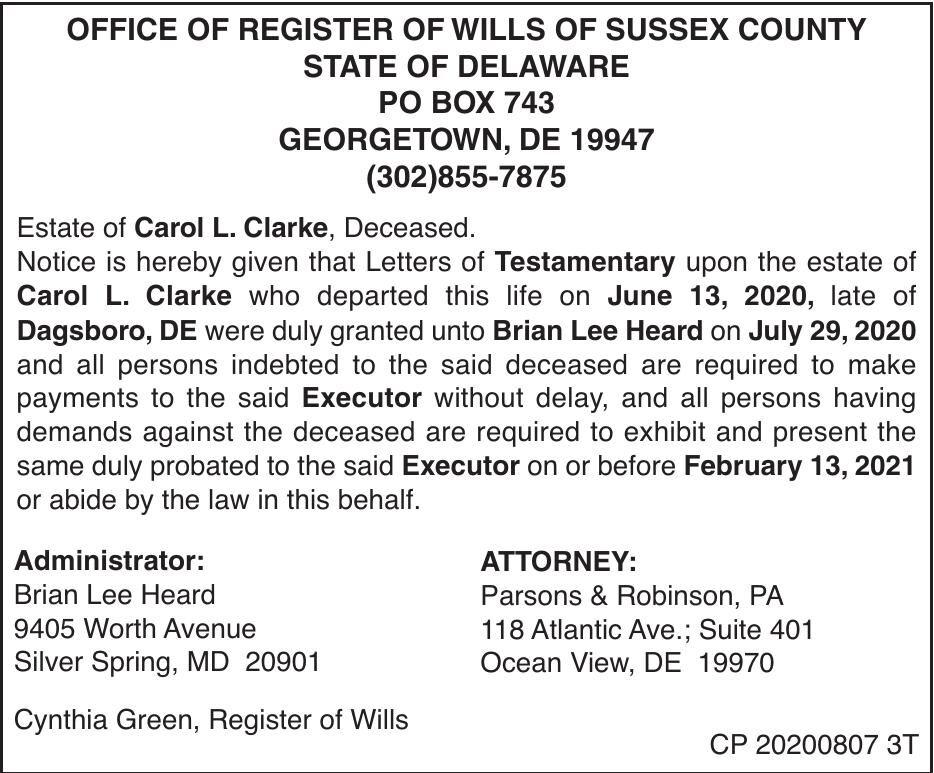Register of Wills - Clarke