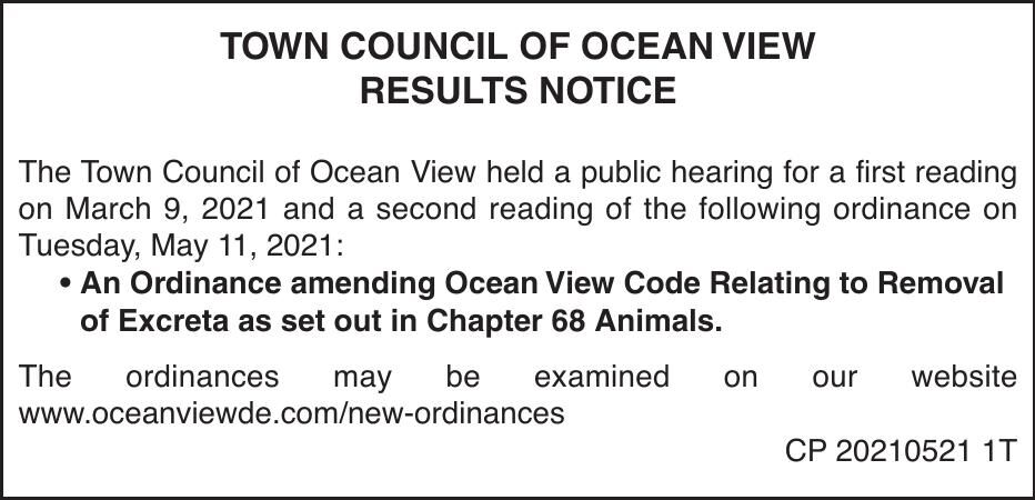Town of Ocean View - May 11, '21 Meeting Results