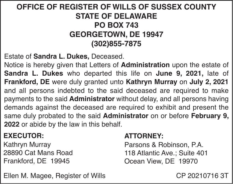 Register of Wills - Dukes
