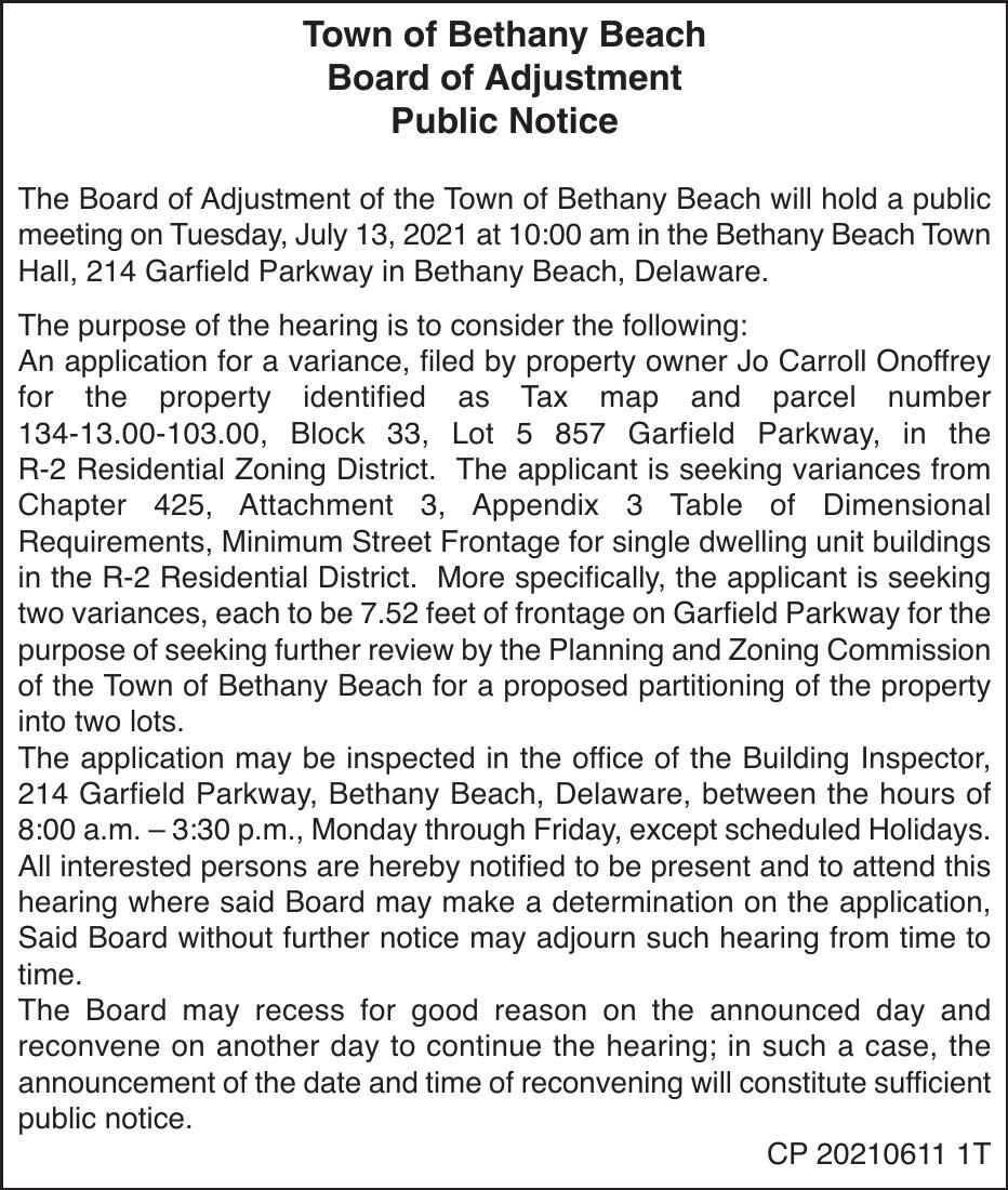 Town of Bethany Beach - July 13, '21 Meeting Notice