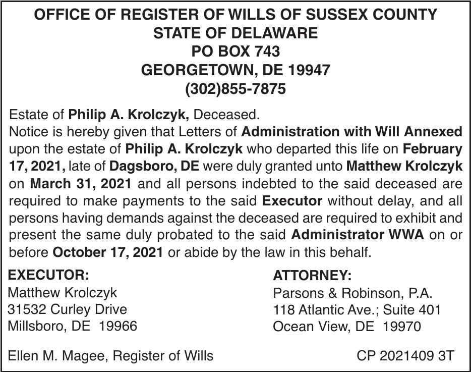 Register of Wills - Krolczyk
