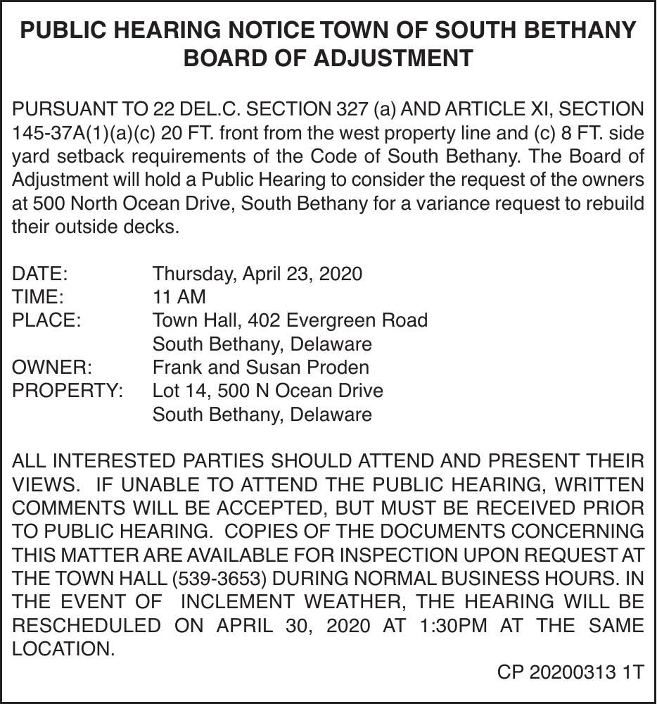 Town of South Bethany - Apr. 23, '20 Meeting Notice