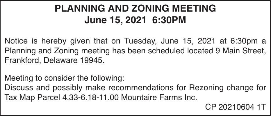 Town of Frankford - June 15, '21 Meeting Notice