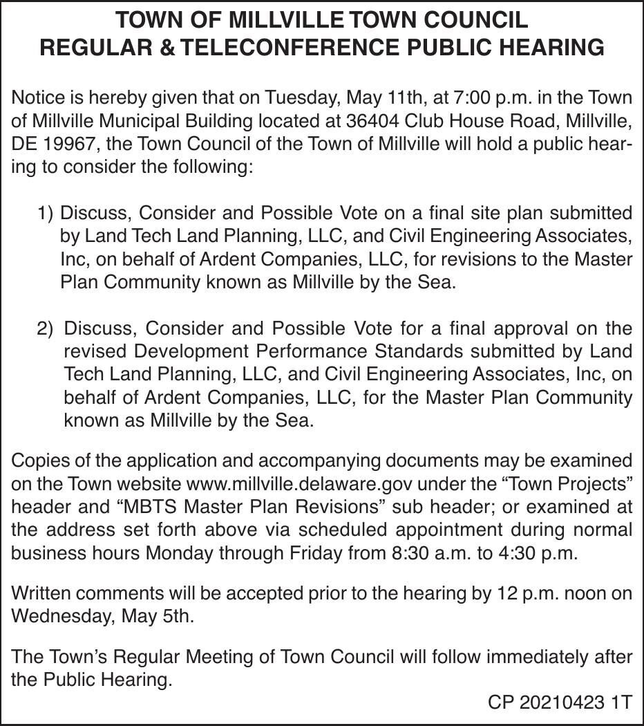 Town of Millville - May 11, '21 Meeting Notice