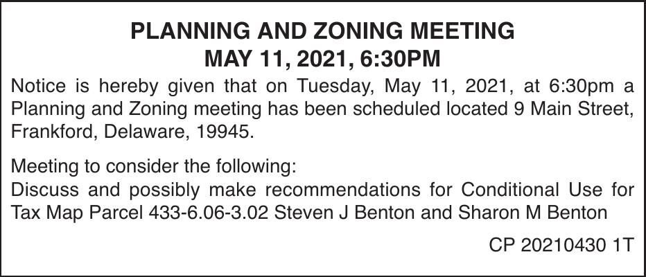 Town of Frankford - May 11, '21 Meeting Notice