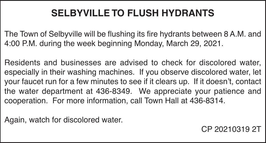 Town of Selbyville - Mar 29, '21 Hydrant Flushing
