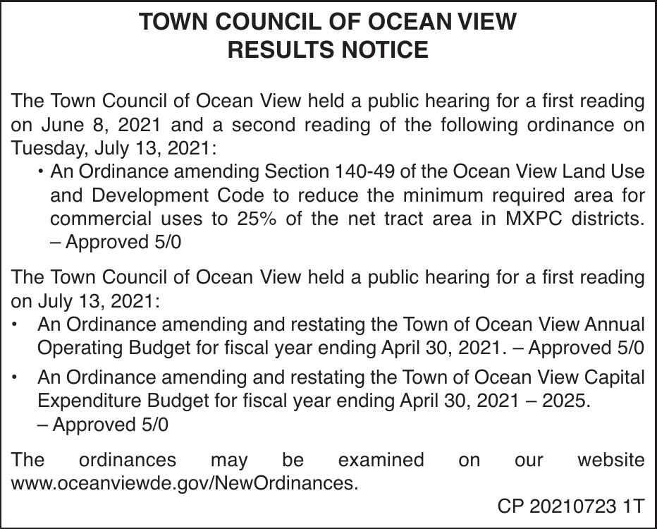 Town of Ocean View - July 13, '21 Meeting Results