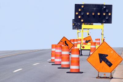 Road construction, lane shift (stock photo)