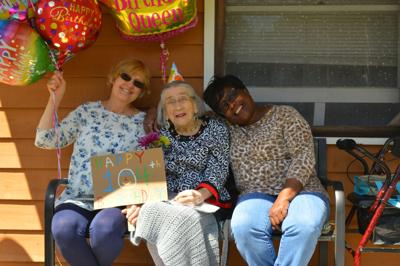 Vinnette Fowler at birthday with caregivers
