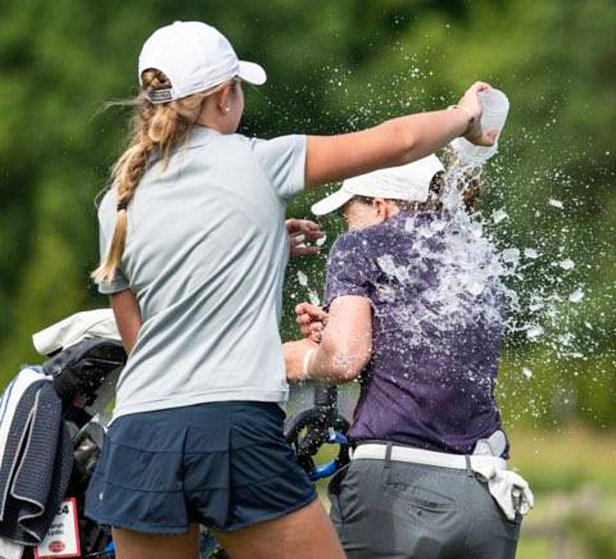 Sawyer Brockstedt douses Sarah Lydic after win