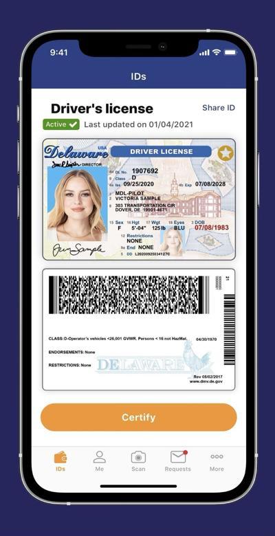 Delaware Mobile ID sample image
