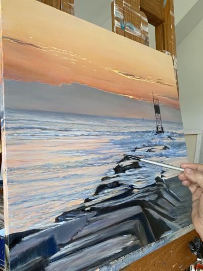 Ellen Rice paints 'Incoming Tide'
