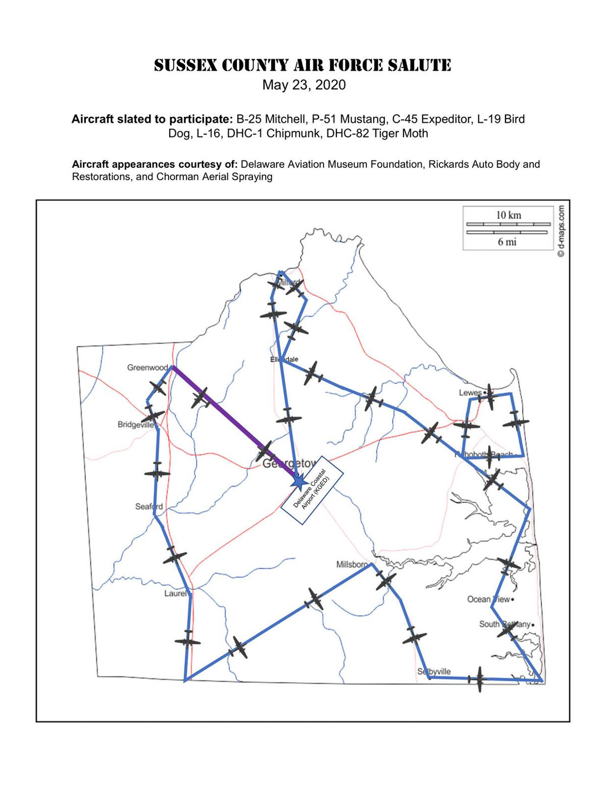 Sussex County Air Force Salute route map