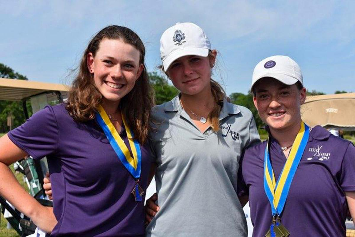 Hannah Lydic, Sawyer Brockstedt and Sarah Lydic at state championship