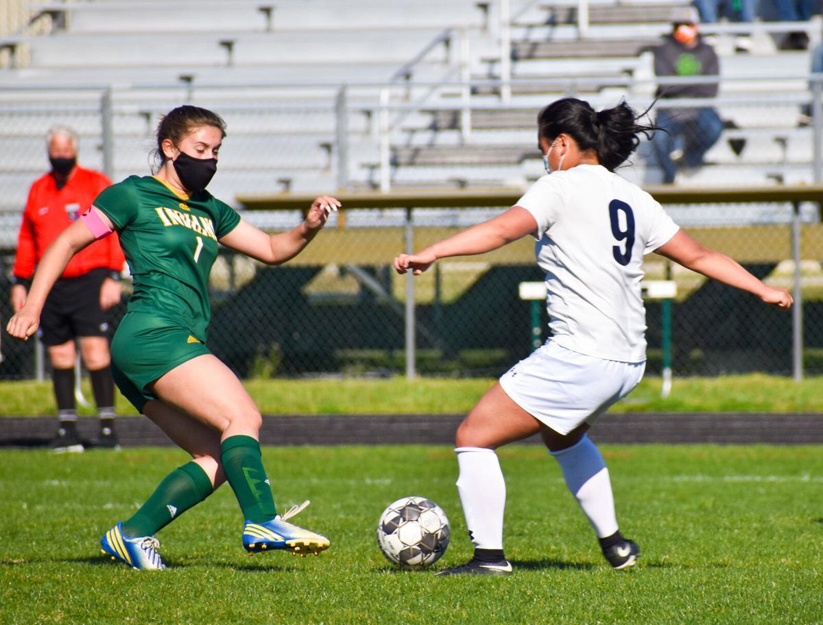 IRHS Girls' Soccer vs. Delaware Military Academy - Sia Diakos battles for the loose ball.jpg