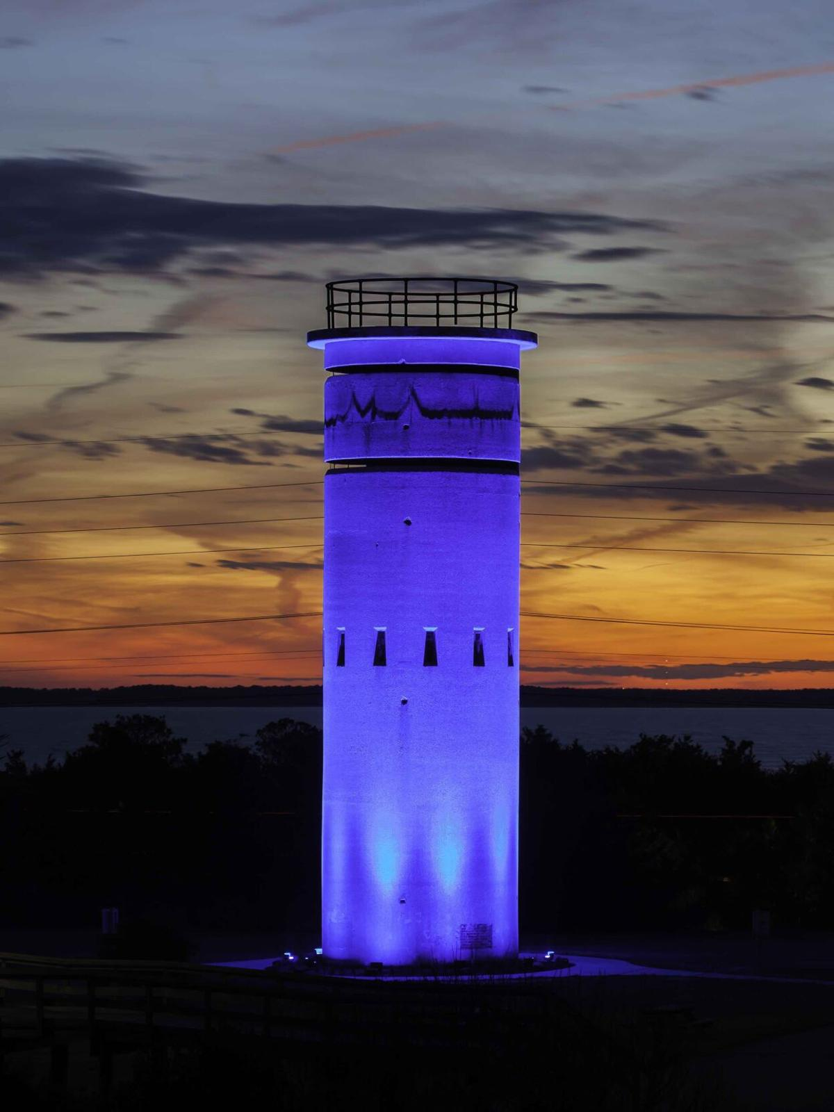 Fire control tower lit in blue