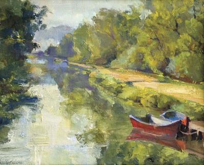 'Waiting' oil painting by Jacalyn Beam, RAL plein air oil painting teacher