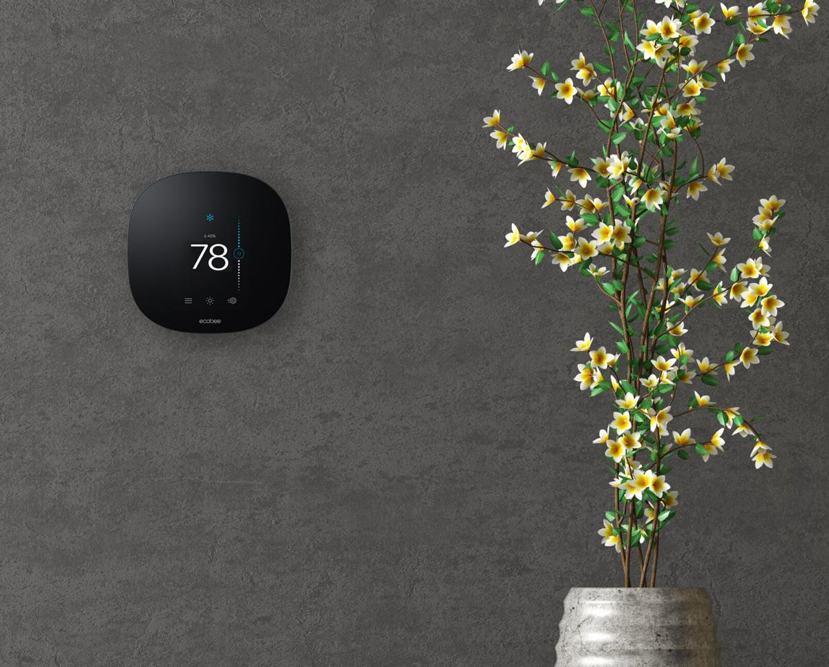 Ecobee smart thermostat with stucco wall and vase with branch (3d rendering)