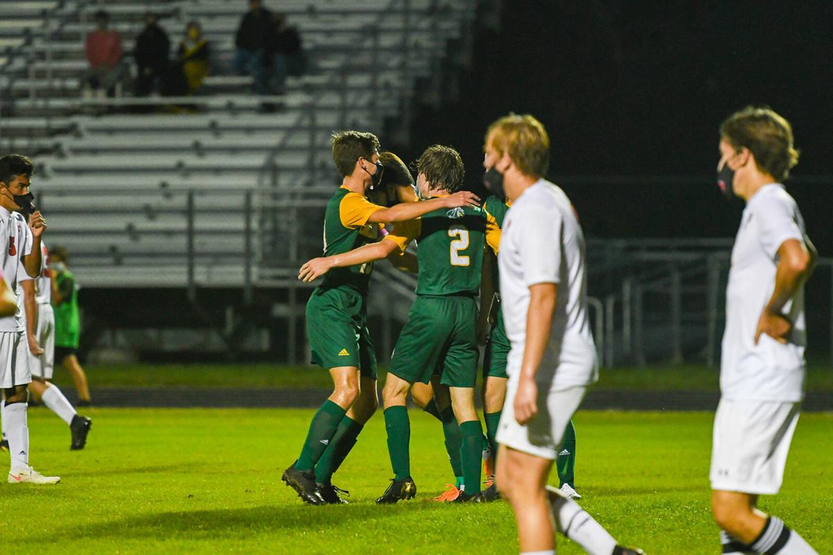 Indian River High School Boys' Soccer vs. PolyTech - Blake Morgan celebrates after a goal-SLam-0608.jpg