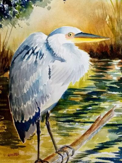 RAL Gerilyn Gaskill, 'Big Bird,' blue heron, watercolor