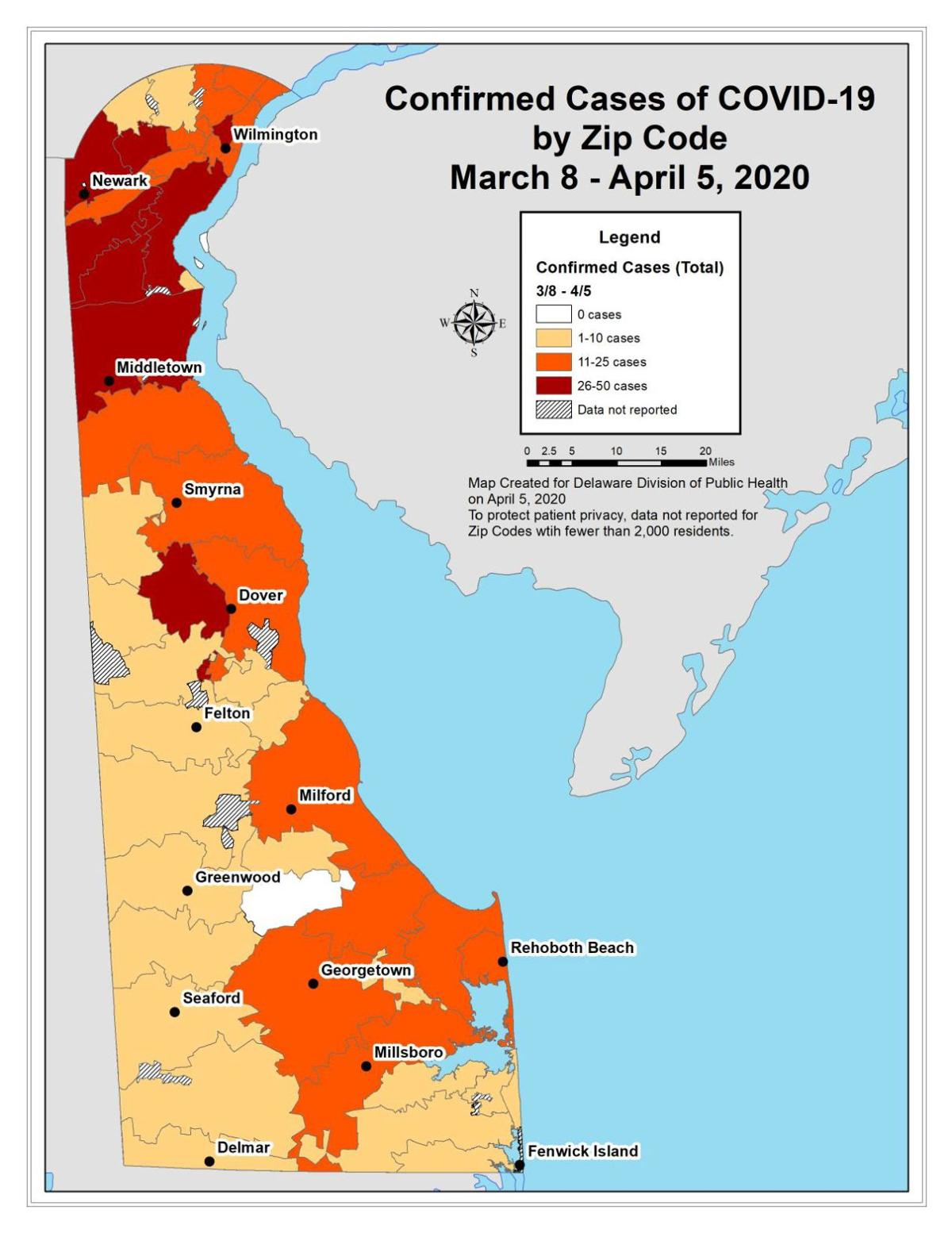 Delaware Confirmed Cases of COVID-19, By Zip Code, from March 8 to April 5, 2020