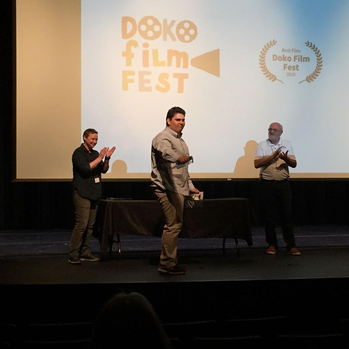 Luke Evans accepts his Best Film award