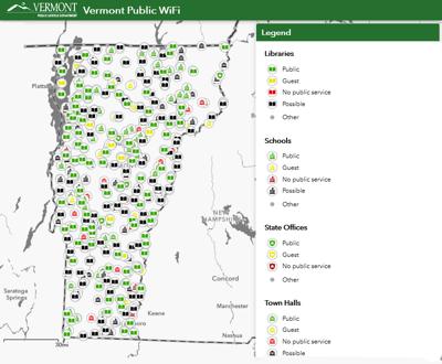 Public Service Department, Vermont Wi-Fi Map, 3-22-2020