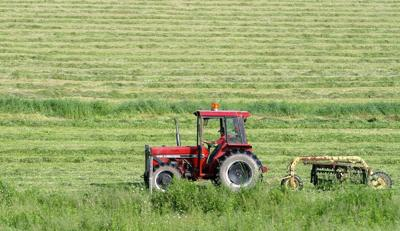 Tractor Tending to Grassland