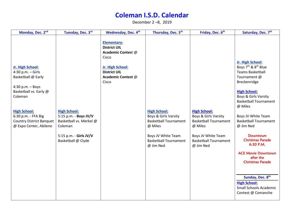 Coleman ISD Calendar for This Week | News | colemantoday com