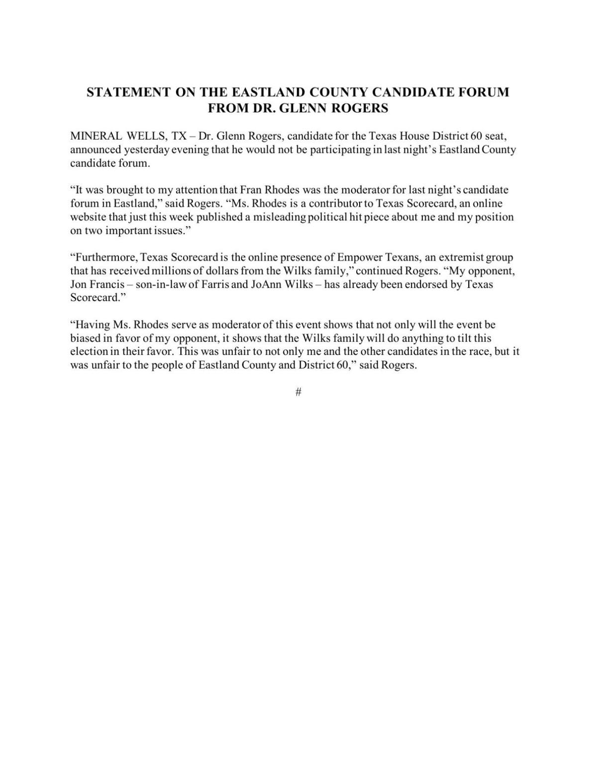 Eastland Candidate Forum Statement From Dr. Glenn Rogers