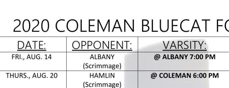 Coleman Bluecat Football Schedules for Fall of 2020