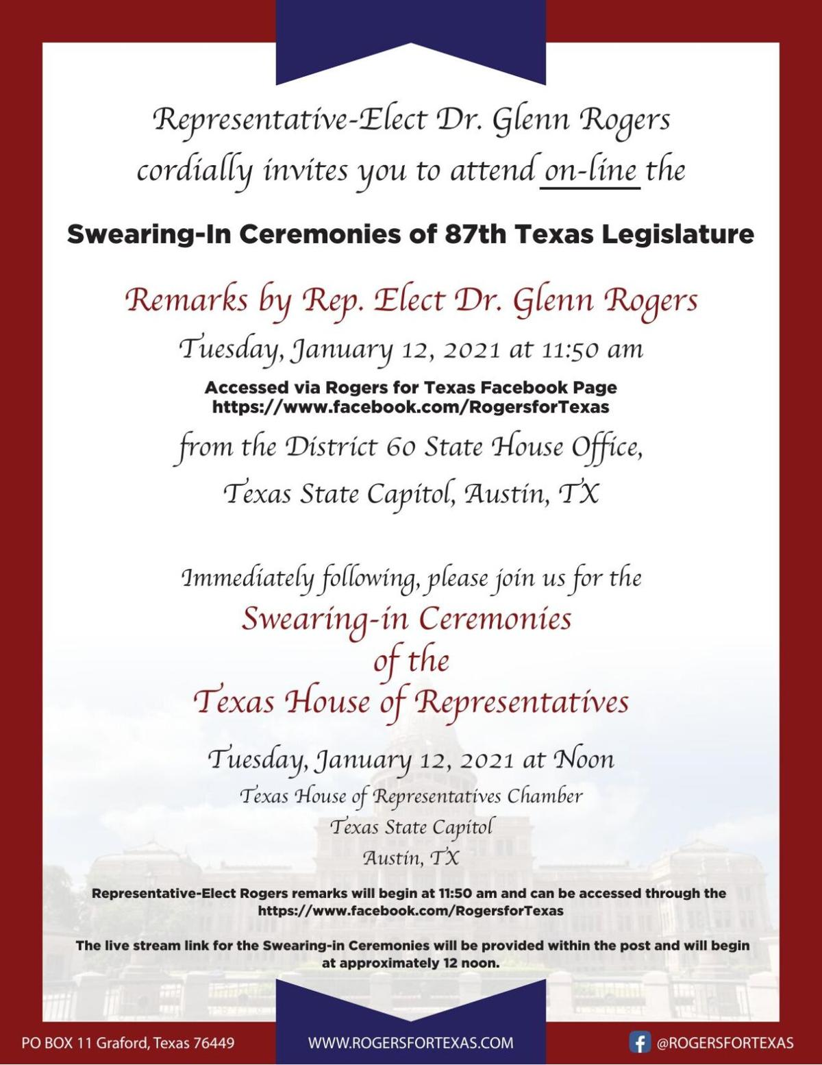 Invite to View Swearing-In of Dr. Glenn Rogers