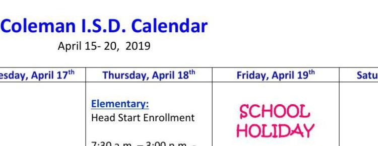 CISD Calendar for Week of April 15th