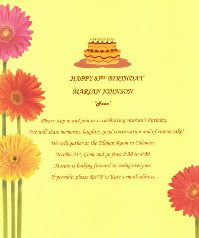 Marian Johnson's Birthday