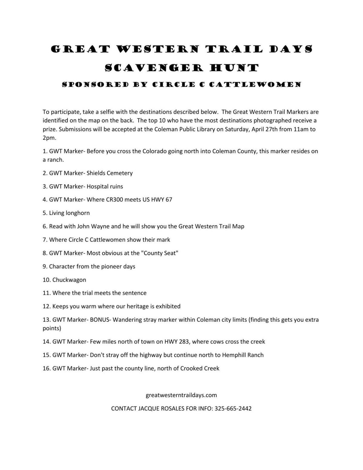 Scavenger Hunt List >> Scavenger Hunt List Colemantoday Com