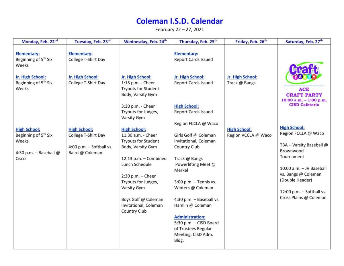 Coleman ISD Calendar for This Week