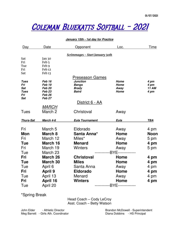 Coleman HS Softball Schedule 2021