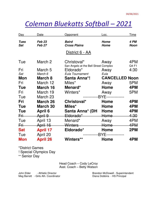 Coleman HS Softball Schedule 2021 Updated Feb 8th